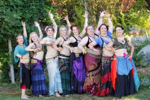 Angie with her student troupe Blue Moon Caravan